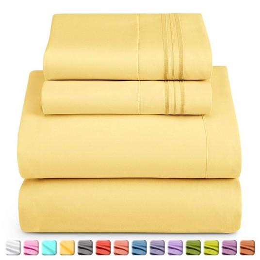 yellow bed sheet