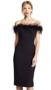 off the shoulder feathered neck dress