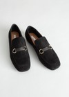 square toed loafers with buckles