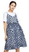 blue and white leopard print dress