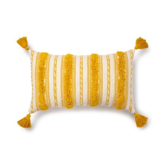 striped yellow throw pillow