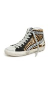 tiger striped high top sneakers