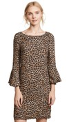 leopard print bell sleeve cocktail dress