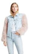 feathered sleeve denim jacket