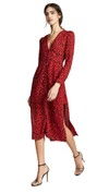 red print long sleeve dress