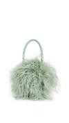 mint green feathered handbag