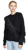 cross body feathered long sleeve shirt