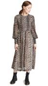 leopard print full length long sleeve dress