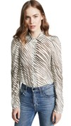 animal print striped blouse