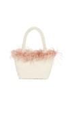 pink feathered handbag